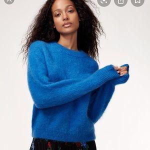 Aritzia blue fuzzy wool sweater